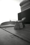 Dustpan brush wooden floor B Stock Images