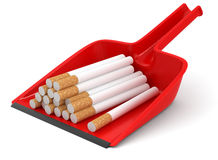 Dustpan and Cigarettes (clipping path included) Stock Photos