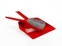 Dustpan e spazzola Fotografia Stock Libera da Diritti
