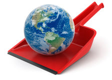 Dustpan with Globe (clipping path included) Stock Photos