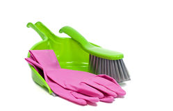 Dustpan and golves royalty free stock image