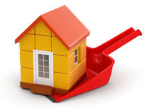 Dustpan and House (clipping path included) Stock Photo