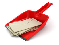 Dustpan and letters (clipping path included) Stock Image