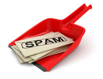 Dustpan and Spam letters (clipping path included) Royalty Free Stock Images