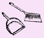 Dustpan and sweeping brush Stock Image