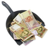 Dustpan with ukrainian  hryvnias. Inflation. Royalty Free Stock Image