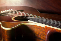 Dusty acoustic guitar,still life. Stock Images
