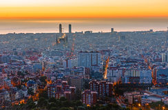 Dusty Barcelona before sunrise Stock Image