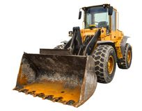 Dusty big bulldozer loader, isolated on pure white background royalty free stock images