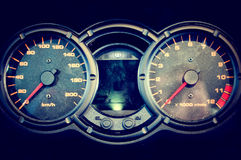 Dusty bike speedometer Royalty Free Stock Image