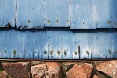 Dusty Blue Wooden Shingles Stock Image