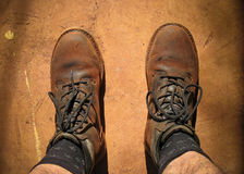 Dusty boots Stock Image