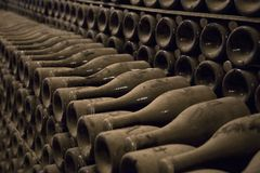Dusty bottles with champagne wine in a winery Stock Image