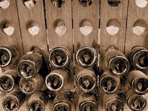 Dusty Bottles von Champagne stockbild