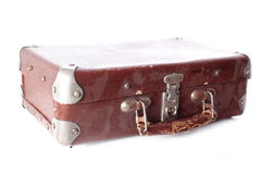 Dusty brown leather suitcase Stock Image