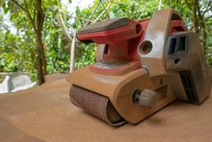 Dusty electric sander royalty free stock images