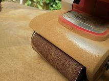 Dusty electric sander royalty free stock image
