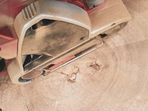 Dusty electric sander stock photos