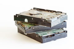 Dusty hard drives - series of computer parts. Old dusty hard drives from computers Stock Photos