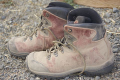 Dusty hiking boots Royalty Free Stock Photo