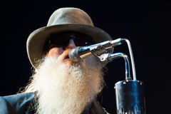 Dusty Hill. LINCOLN, CA – August 17: Dusty Hill with ZZ Top performs at Thunder Valley Casino Resort in Lincoln, California on August 17, 2012 Royalty Free Stock Photo