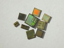 Dusty Integrated Chips. On the paper Royalty Free Stock Image