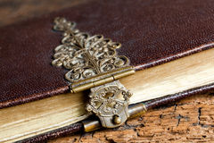 Dusty lock on ancient book