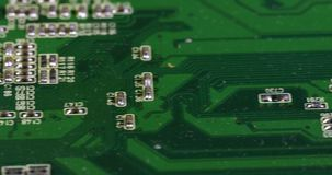 Dusty microcircuit close-up stock footage