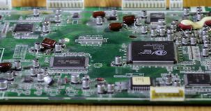 Dusty microcircuit close-up stock video footage