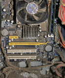 Dusty motherboard Stock Photo