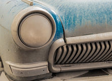 Dusty Old Blue Car Bumper and Headlight Stock Photos
