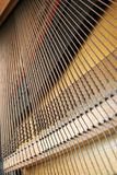 Dusty old piano Strings. The strings in the lower half of an upright piano Royalty Free Stock Image