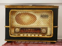 Dusty old radio on backgroup blur Stock Image