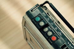 Dusty old radio with one cassette player Royalty Free Stock Photo