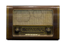 Dusty old radio on a white background. Isolated Stock Photo