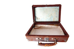 Dusty open brown leather suitcase Stock Photo