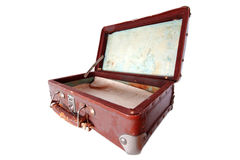 Dusty open brown  suitcase Stock Image