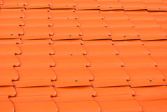Dusty Orange Metal Sheet Roof Background/ Texture Royalty Free Stock Photos