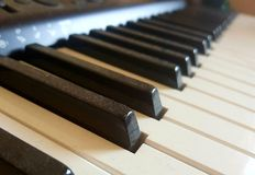 Dusty piano keyboard. Concept of resuming piano play Stock Photography