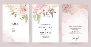 Free Dusty Pink And Ivory Beige Rose, Pale Hydrangea, Fern, Dahlia, Ranunculus, Fall Leaf Stock Photos - 190139553