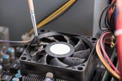 Dusty processor fan Stock Photo
