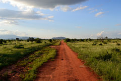 Dusty road in Africa Stock Photo