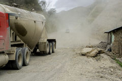 Dusty Road in Andes Royalty Free Stock Images