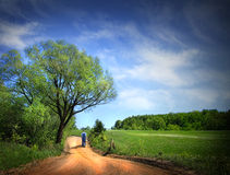 Dusty road on a beautiful spring day Royalty Free Stock Photo