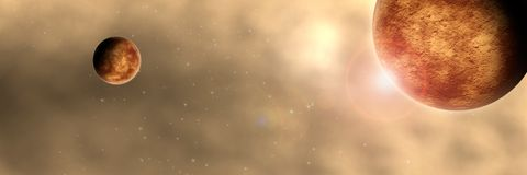 Dusty Space Planet Panorama Royalty Free Stock Image