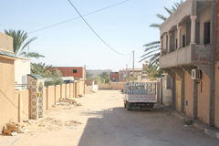 Dusty street in Sidi Ali Ben Aoun Royalty Free Stock Photos