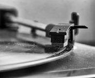 Dusty turntable with vinyl record Royalty Free Stock Images