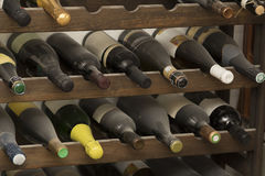 Dusty wine bottles Stock Photography