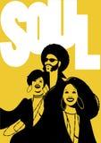 Duszy muzyki plakat Grupa mężczyzna i dwa dziewczyny Zdjęcie Royalty Free