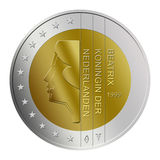 Dutch 2 Euro Coin. Dutch National 2 Euro Coin illustration isolated on white background Royalty Free Stock Image